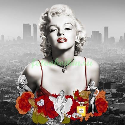 Фотообои Мерлин монро с алыми розами