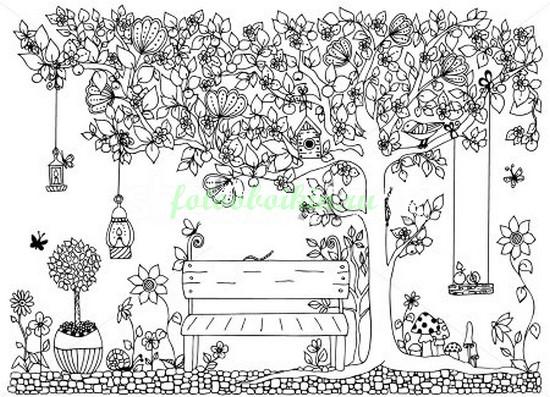 Фотообои Скамейка под волшебным деревом