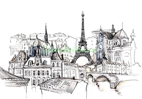 Фотообои Рисунок Парижа чернилами
