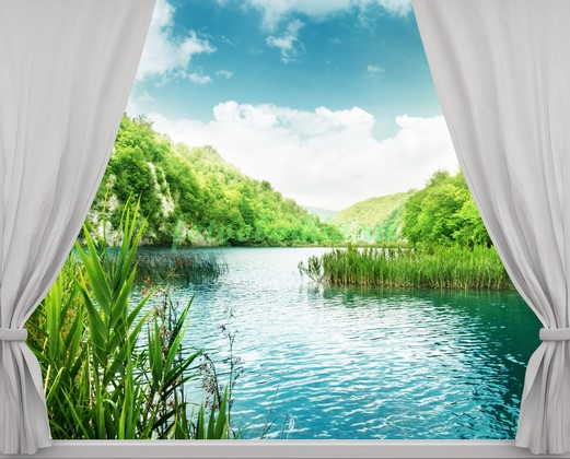 Фотообои Окно с видом на реку