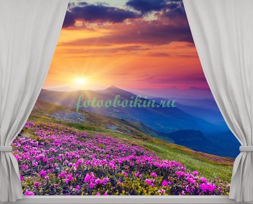 Фотообои Окно с видом на горы