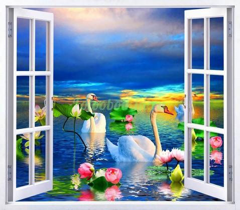 Фотообои Окно с видом на лебедей