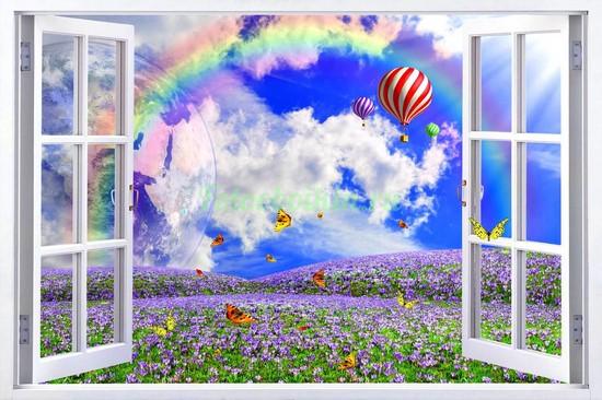 Фотообои Окно с видом на полянку