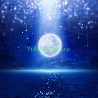 Фотообои Полная луна над океаном