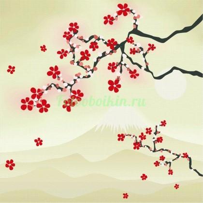Фотообои Ветка сакуры на фоне горы