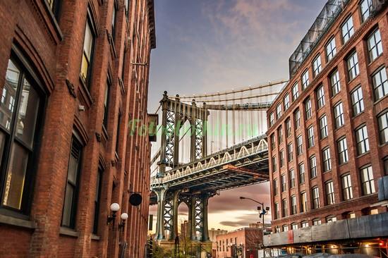 Фотообои Старые дома Бруклинский мост