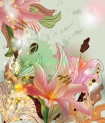 Фотообои Розовые лилии рисунок