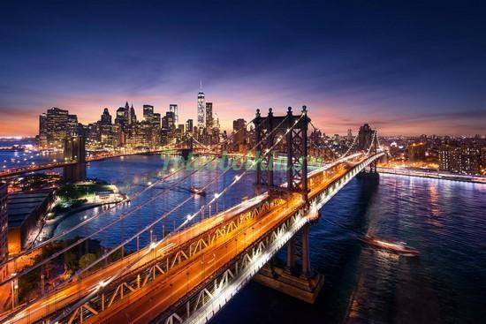 Фотообои Яркий Бруклинский мост зимой
