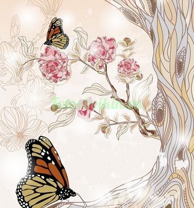 Фотообои Бабочки на цветущем дереве