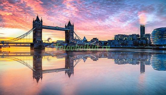 Фотообои Великолепный закат над мостом