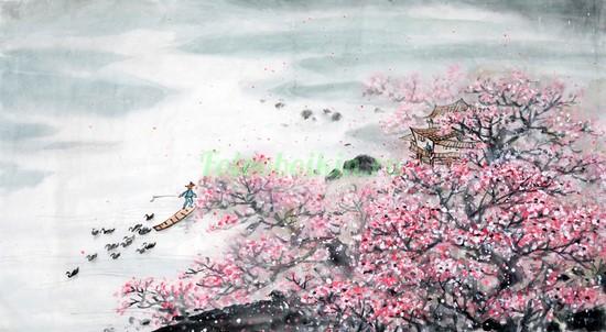 Фотообои Домик в ветках сакуры
