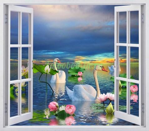 Фотообои Окно с видом на озеро и лотосы