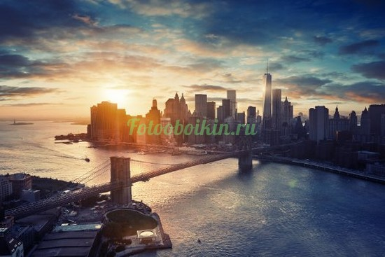 Фотообои Красивый городской рассвет