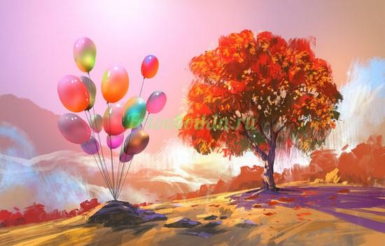 Фотообои Воздушные шарики около дерева