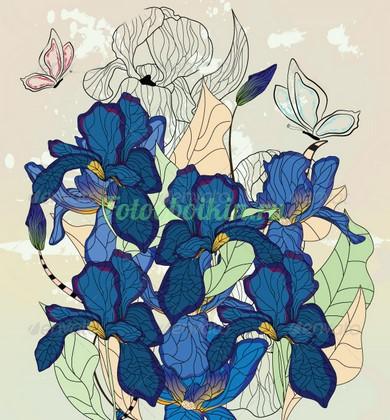 Фотообои Синие ирисы