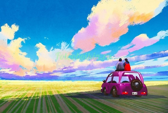 Фотообои Машина в поле