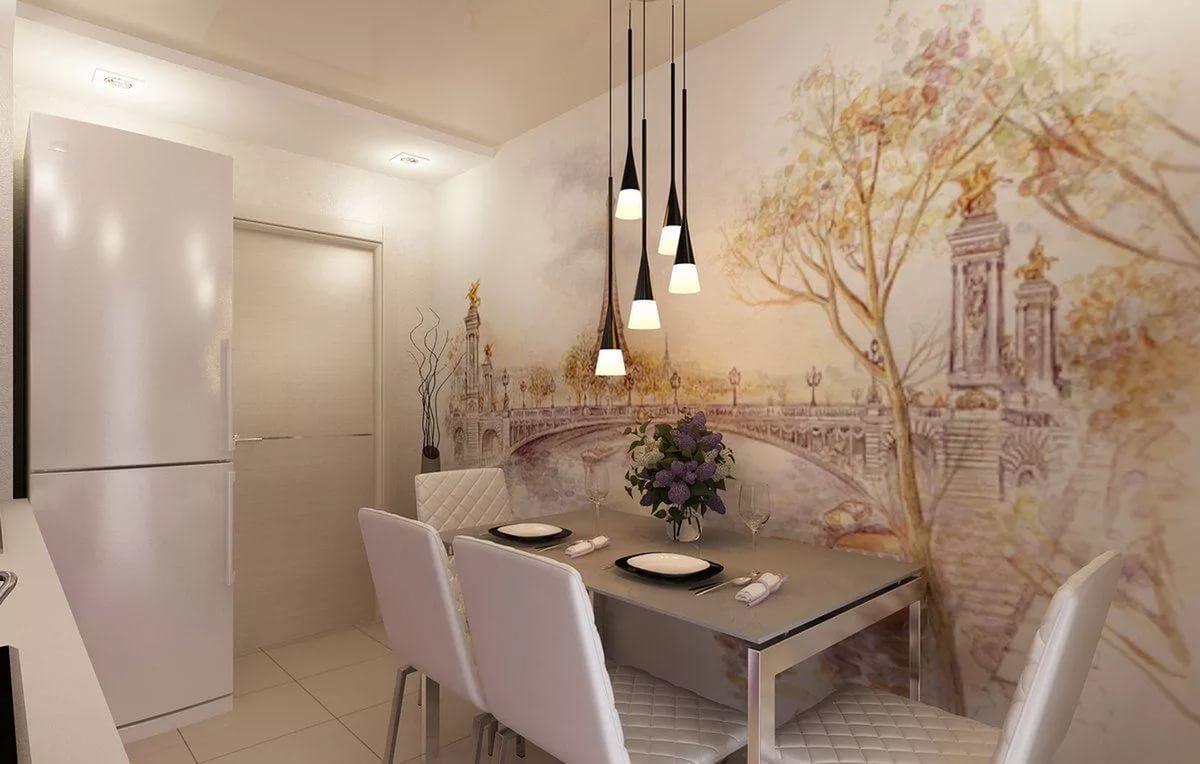 дизайн фотообои на стену кухни фото времени