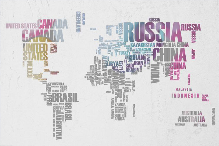 Фотообои 3д карта стран