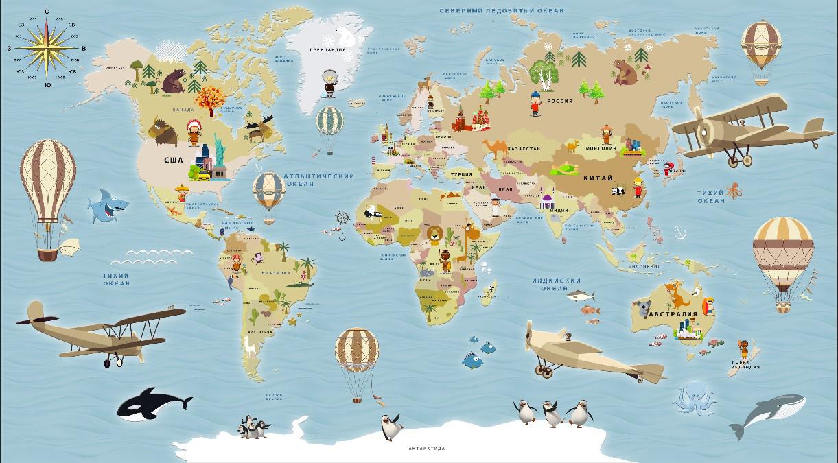 Фотообои Карта на русском языке