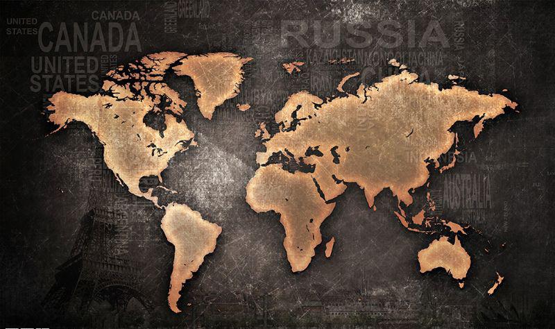 Фотообои Карта мира черная