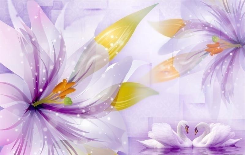 Фотообои 3д цветы фиолет