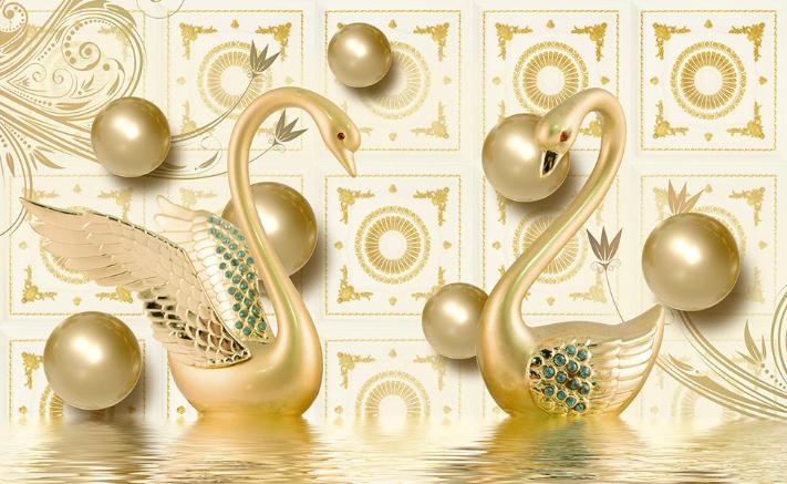 Фотообои Золотые лебеди