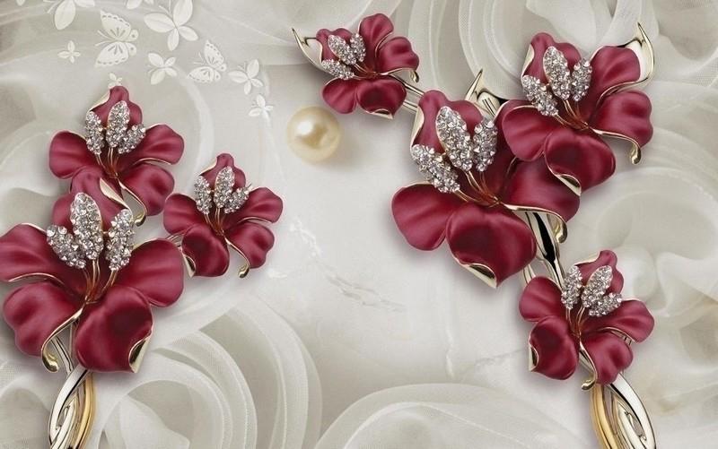Фотообои Бардовые цветы 3д