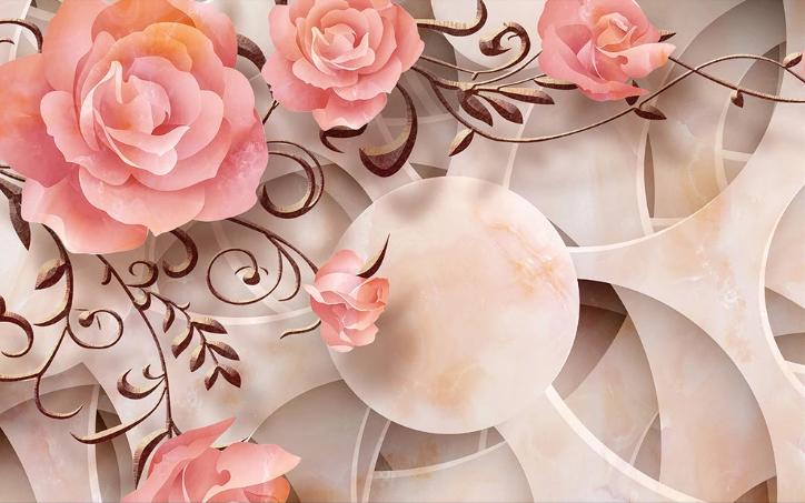 Фотообои Розовые 3Д