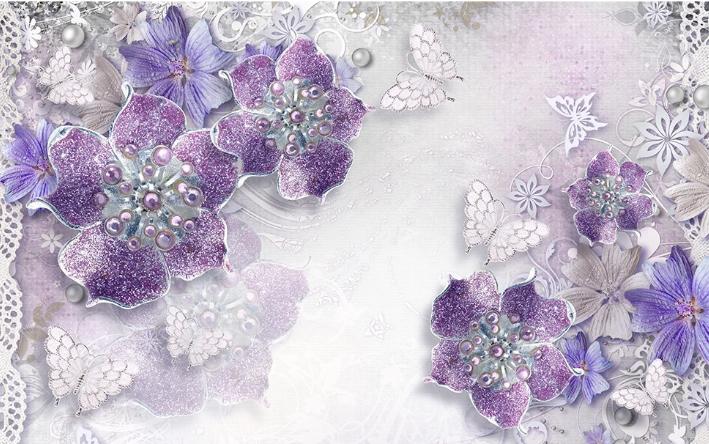 Фотообои Фиолетовые с цветами