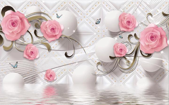 Белые с розами