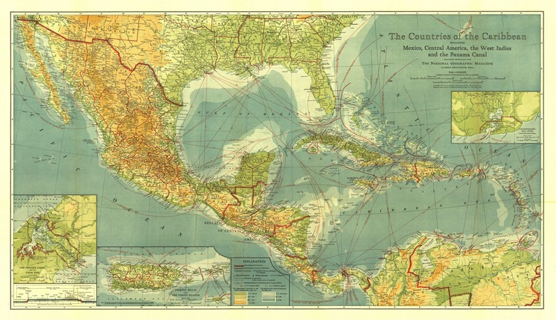 Фотообои Карта Карибского моря