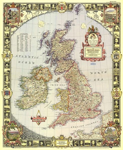Фотообои Старая карта Англии