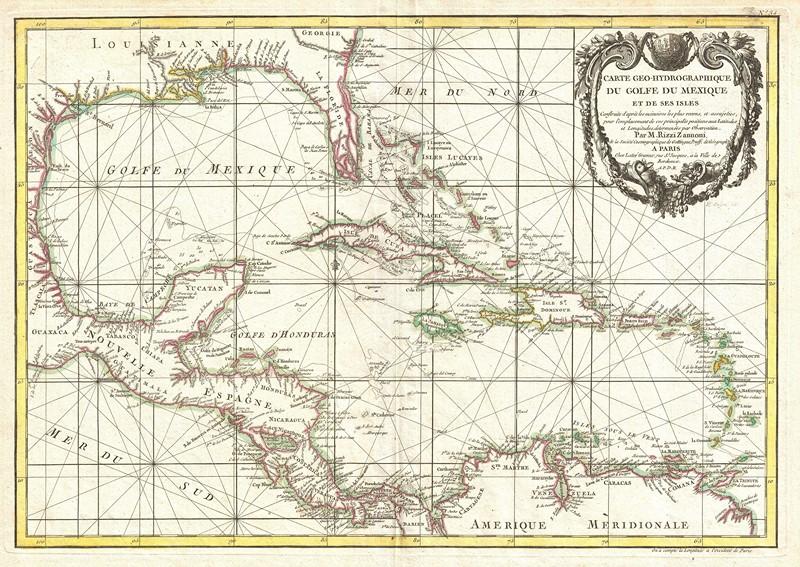 Фотообои Карта Карибских островов