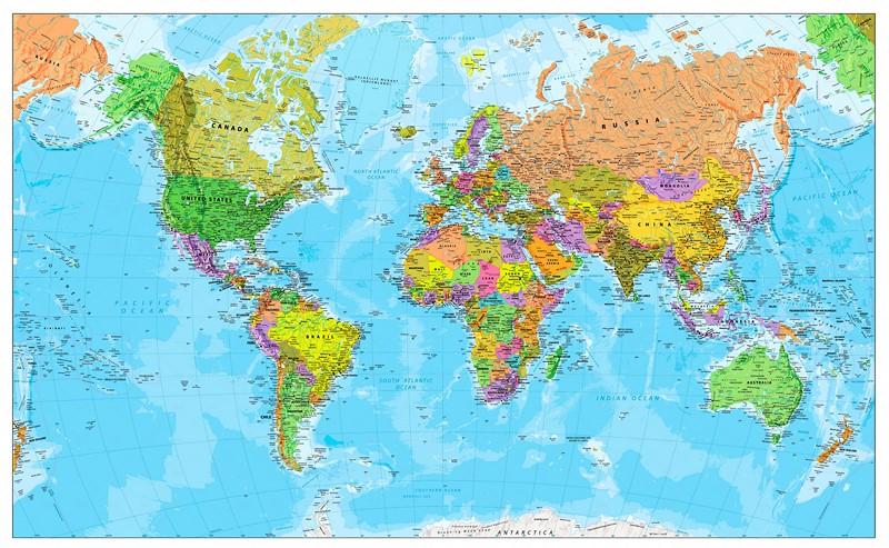 Фотообои Карта стран мира