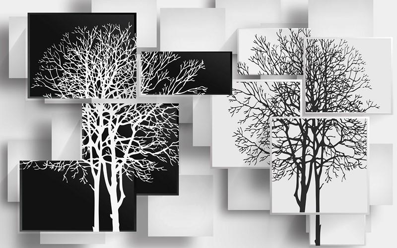 Фотообои Черное и белое дерево