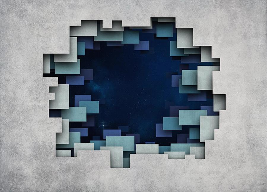 Фотообои Космос 3Д стена