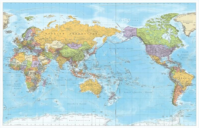 Фотообои Карта мира политическая