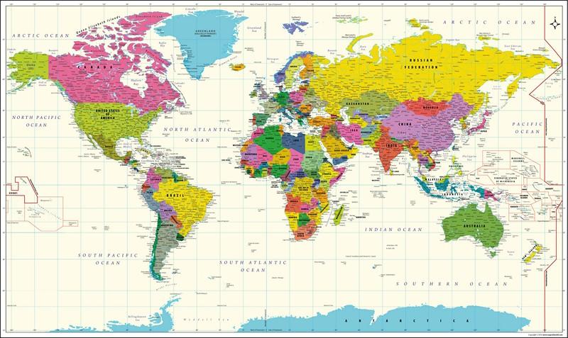 Фотообои Карта мира на языке