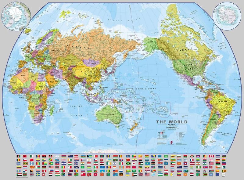Фотообои Карта с флагами