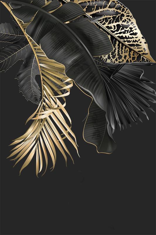 Фотообои Черные с листьями