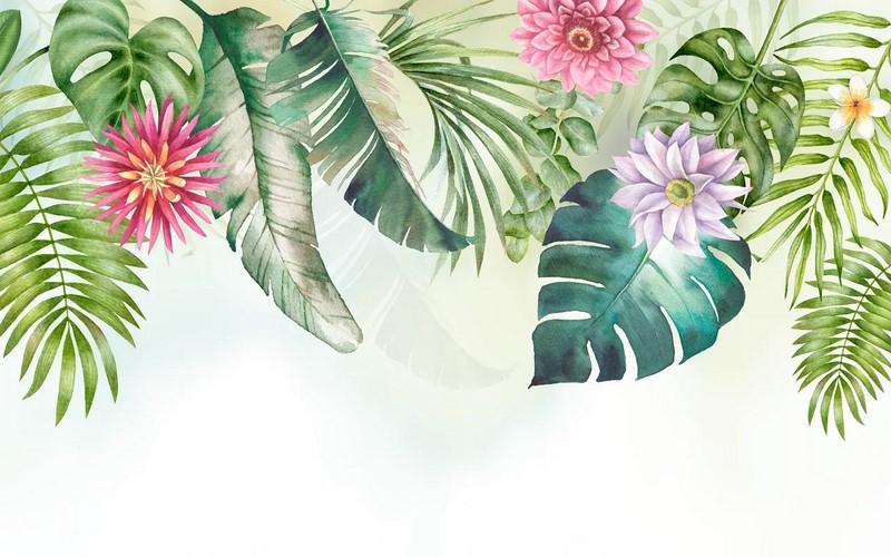 Фотообои Листья с цветами