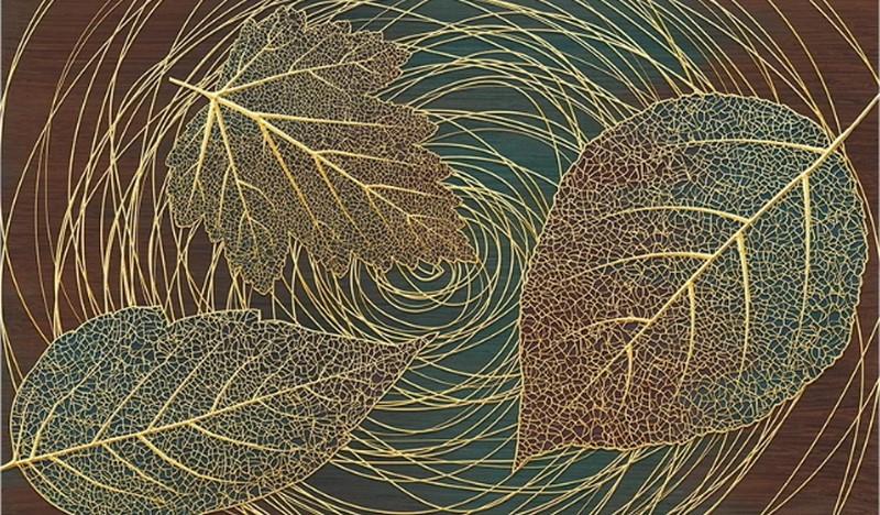Фотообои Листья с золотом