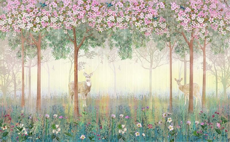 Фотообои Деревья и олени