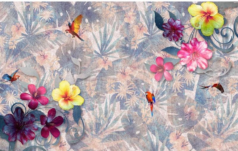 Фотообои Попугай и цветы