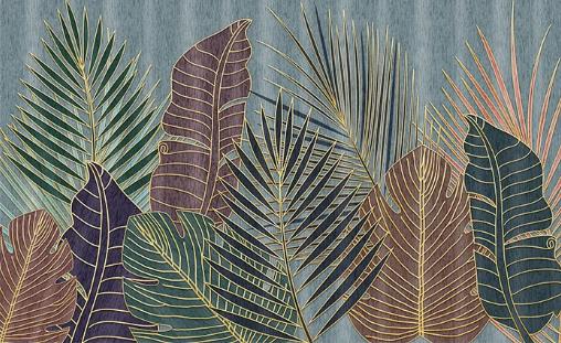 Фотообои Листья на сером фоне