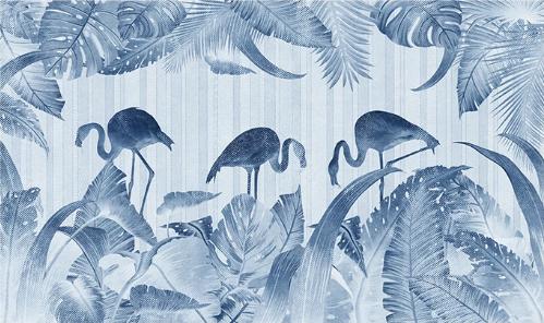 Фотообои Фламинго на сером фоне