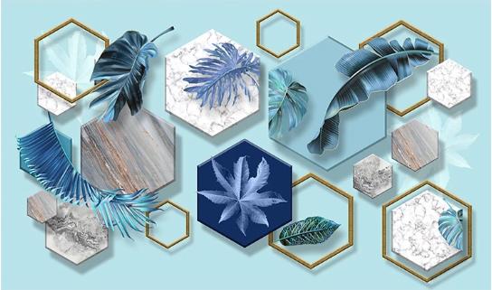 Фотообои Дизайнерские обои листья в шестиугольниках