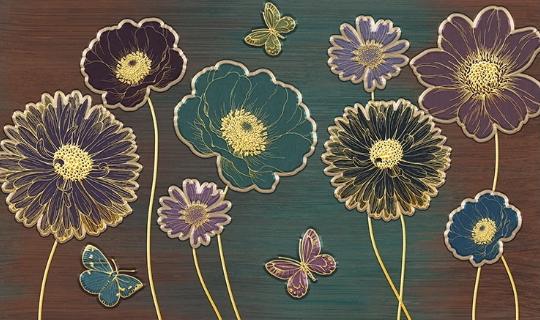 Фотообои Бабочки и цветы