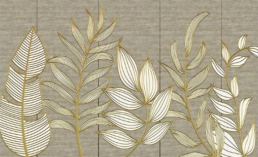 Фотообои Авторские обои листья вдоль стены
