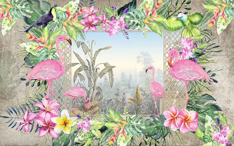 Фотообои Авторские обои фламинго и цветы
